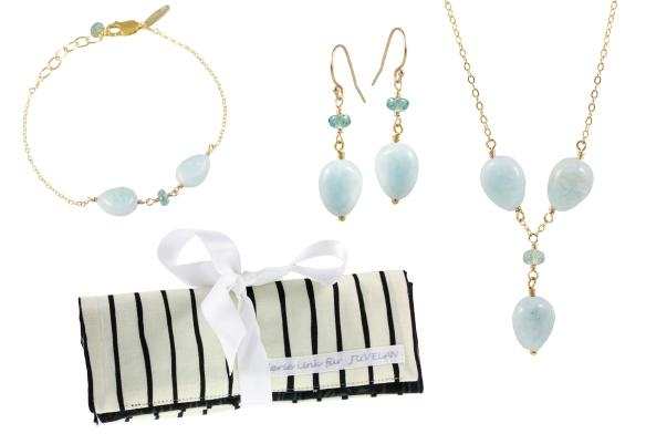 juvelan jewelry blue topaz aquamarine gold necklace earrings bracelet handmade gemstone johan vandamme fredrik andersson